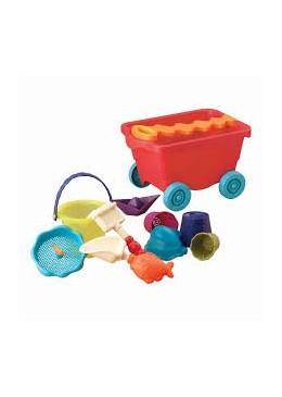 Duży wózek z zabawkami do piasku, czerwony, B.toys