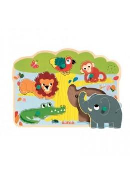 Puzzle drewniane zwierzątka z dźwiękiem, Djeco