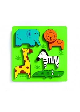 Puzzle drewniane zwierzęta z Afryki, Djeco
