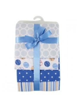 Zestaw pieluszek flanelowych, 4 sztuki, niebieskie, Hudson Baby