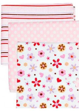 Zestaw pieluszek flanelowych pink, 3 szt., Luvable Friends