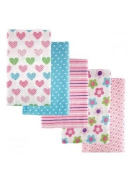 Zestaw pieluszek flanelowych, 5 sztuk, pink, Luvable Friends
