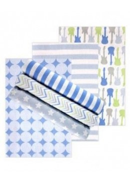Zestaw pieluszek flanelowych, 6 sztuk, blue, Luvable Friends