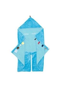 Śpiworek-otulaczek z kapturem i metkami, niebieski, Snoozebaby