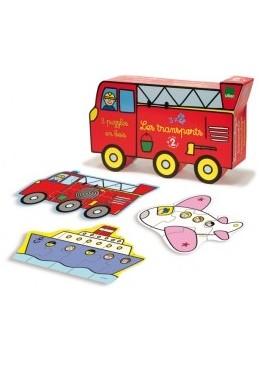 Drewniane puzzle Transport 5 elementowe, Vilac