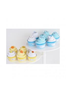 Baby Cupcake żółty Body dziecięce podwójny krótki rękaw, białe i żółte 3-6m, Cotton & Sweets
