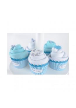 Baby Cupcake turkusowy Body dziecięce podwójny krótki rękaw, białe i turkusowe 3-6m, Cotton & Sweets