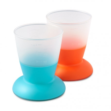 Kubek z miarką 3szt. kolor pomarańczowy/fioletowy/niebieski, BABYBJÖRN