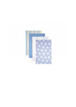 Pieluszki flanelowe 4 pack, niebieskie, Luvable Friends