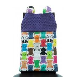 Oparcie na krzesło Cuddly Back Kolorowe Misiaczki, Amethyst